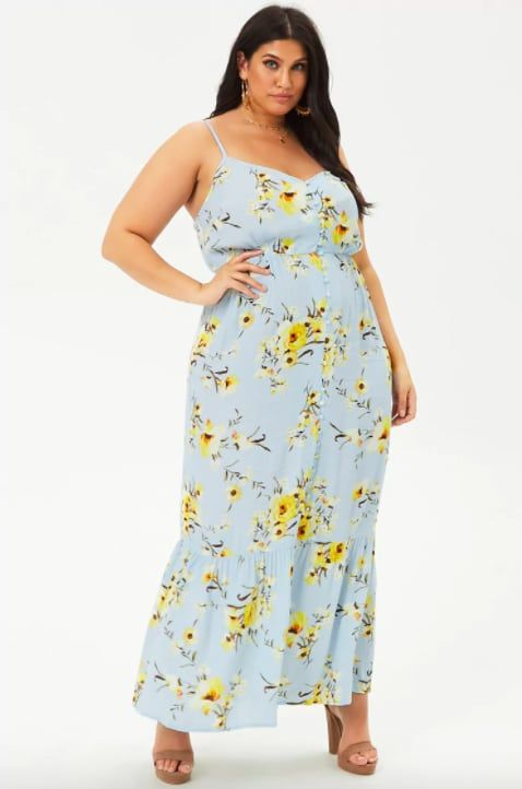 plus size women floral maxi dress for summer