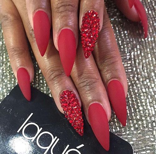 pretty valentines day stiletto rhinestone nail designs