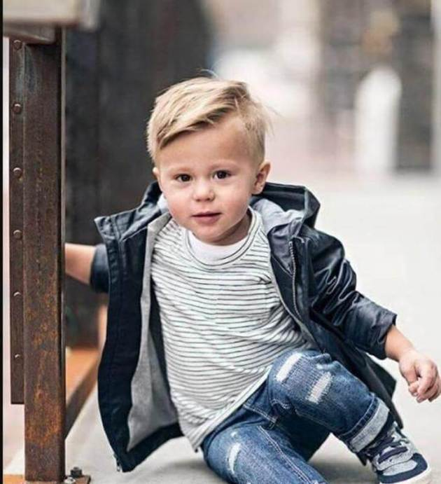 toddler boy side swept fade haircut
