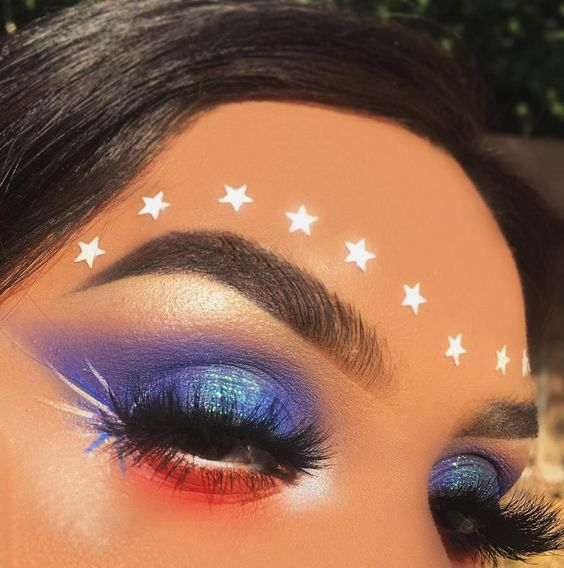 4th of July makeup red white and blue with fireworks stars
