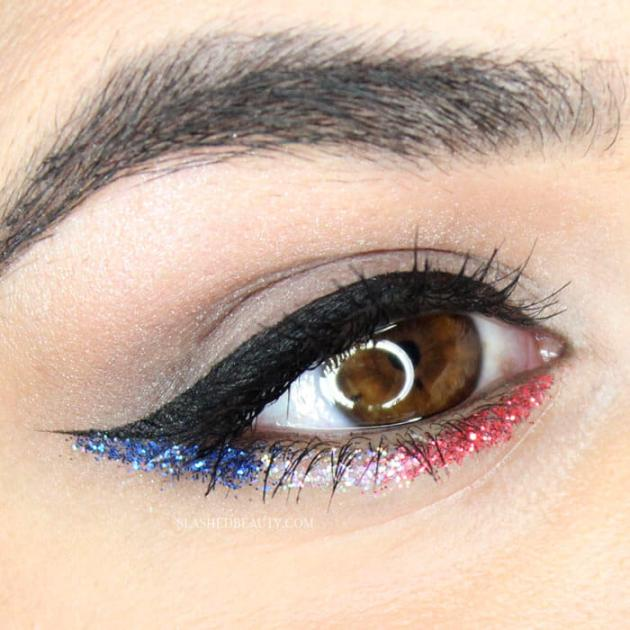 4th of july glitter sparkle eye makeup