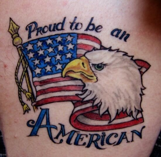 american eagle flag with quote tattoo