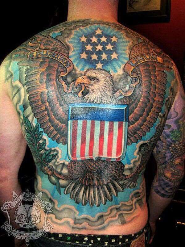 full back american flag with eagle tattoo design for men