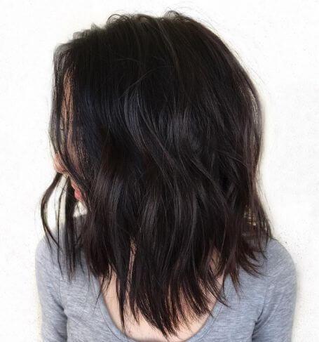 shoulder length thick choppy haircut