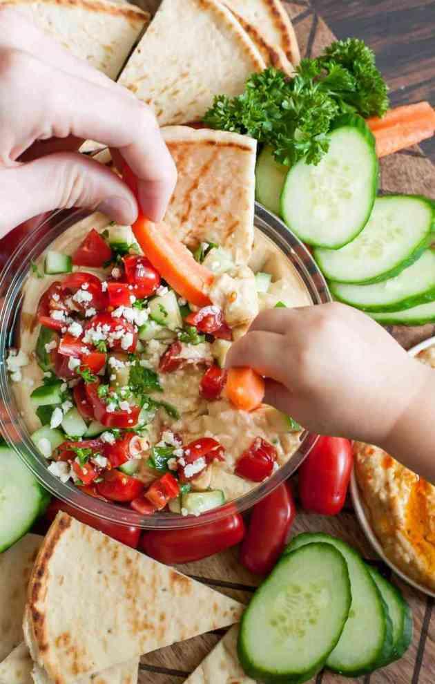 mediterranean bruschetta hummus platter recipe for summer party snacks