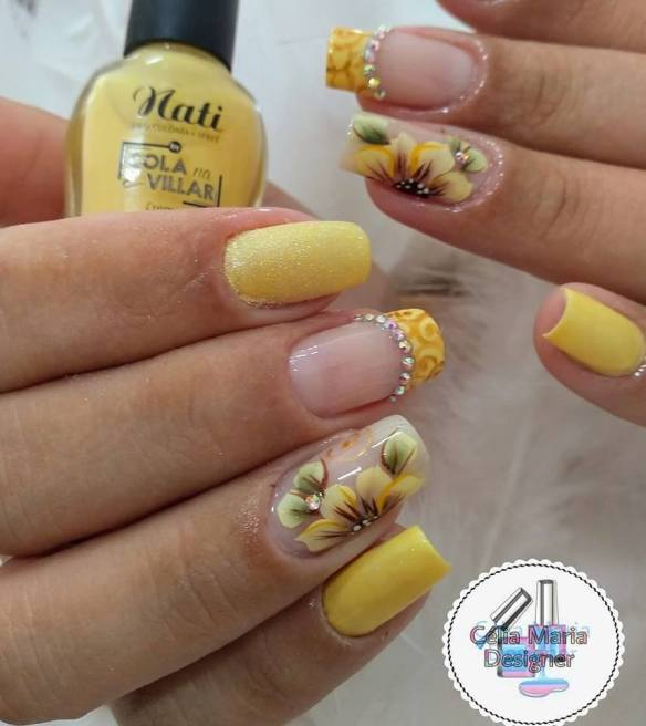 yellow nails with flowers stickers