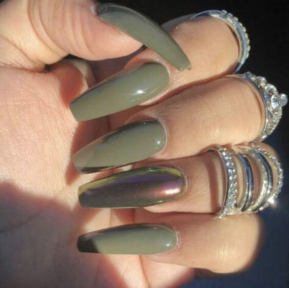 army green coffin acrylic nails
