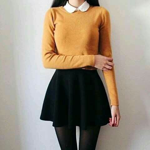 back to school collar sweater with skirt outfits