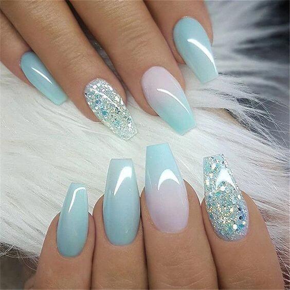 blue ombre acrylic nail designs 2019