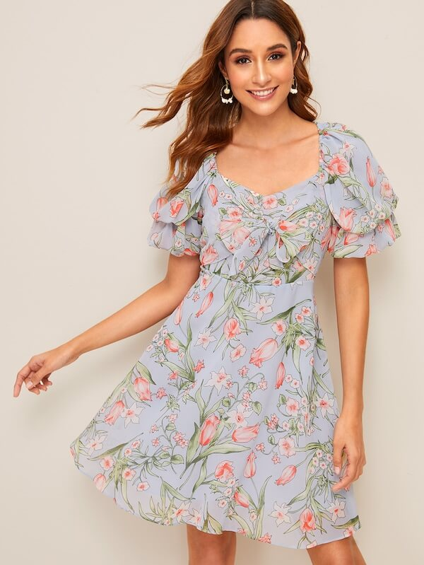 front puff floral print tea sleeve dress outfit ideas