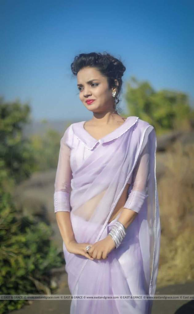 lavender silk saree with pintuck style  blouse design