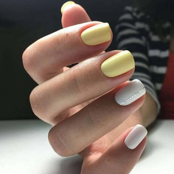 short yellow and white nail designs