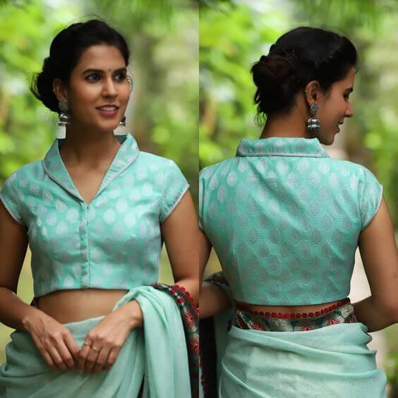 stand collar blouse design with saree