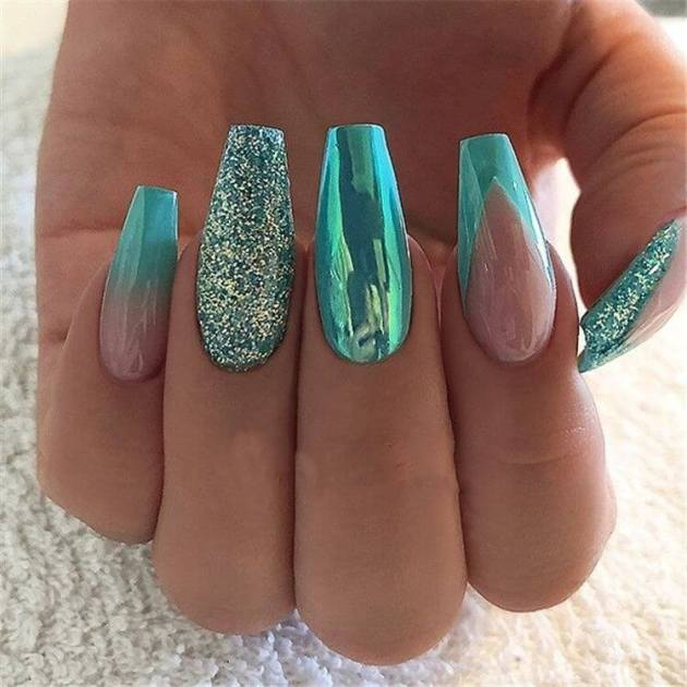 turquoise coffin acrylic nail designs