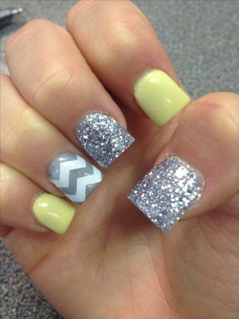 yellow and silver nail designs