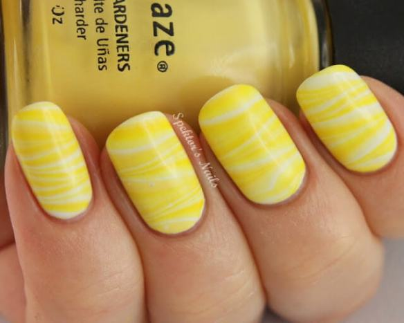 yellow zigzag nail designs