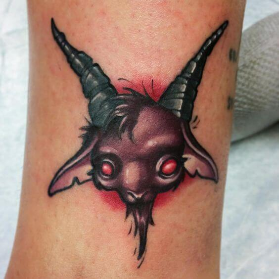baby baphomet head tattoo