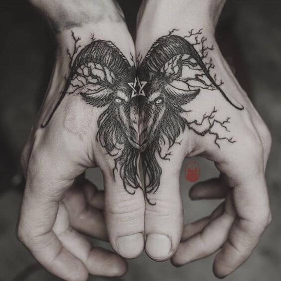 baphomet tattoo design on back hands