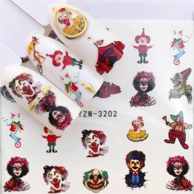 clown nail stickers