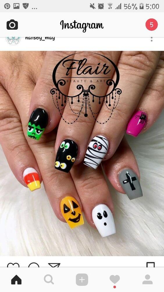 cute painted halloween nails