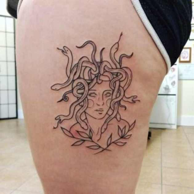 medusa tattoo sketch on side thigh