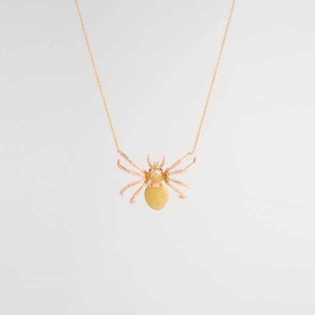 vintage gold ruby spider necklace