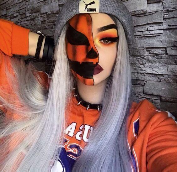 amazing half face pumpkin makeup ideas for halloween 2019
