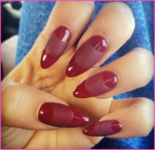 burgundy almond-shaped manicure