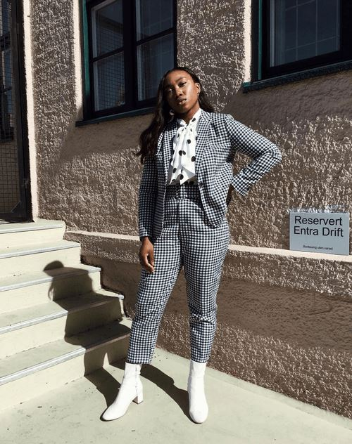 checker pant suit outfit ideas for fall