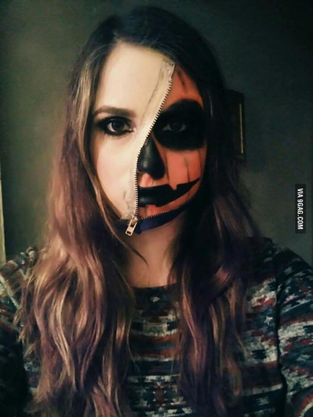 half faced zipped pumpkin paint ideas