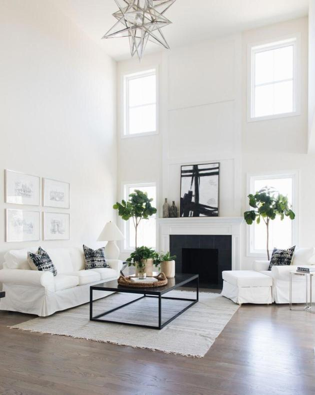 home room decor with white and black interior