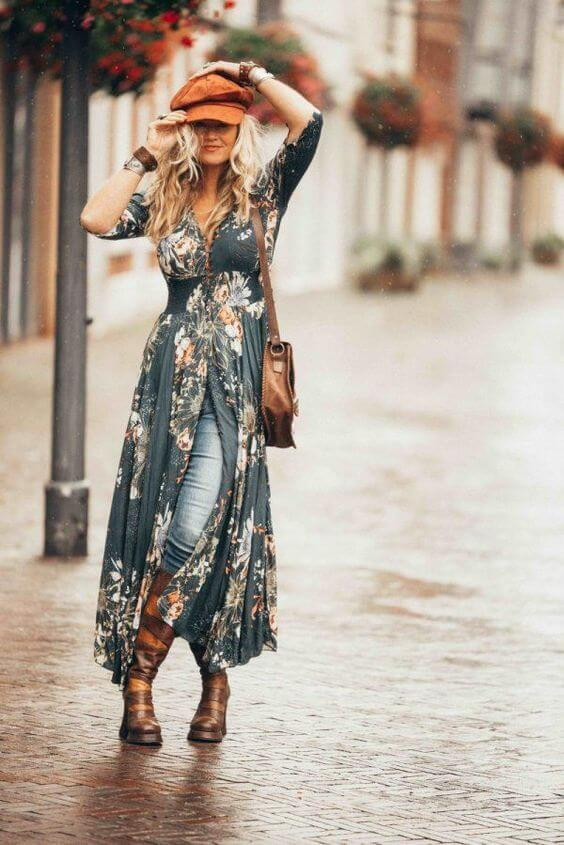 long floral print maxi dress with jeans pant outfit ideas for fall