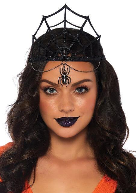 metallic spider crown with dark makeup