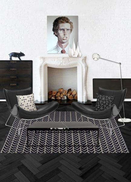 modern black and white furniture and interior design