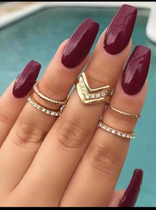 red wine long coffin nails