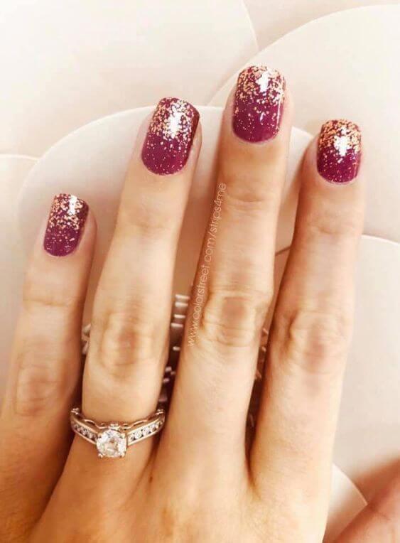 rose gold glitter dip color nails
