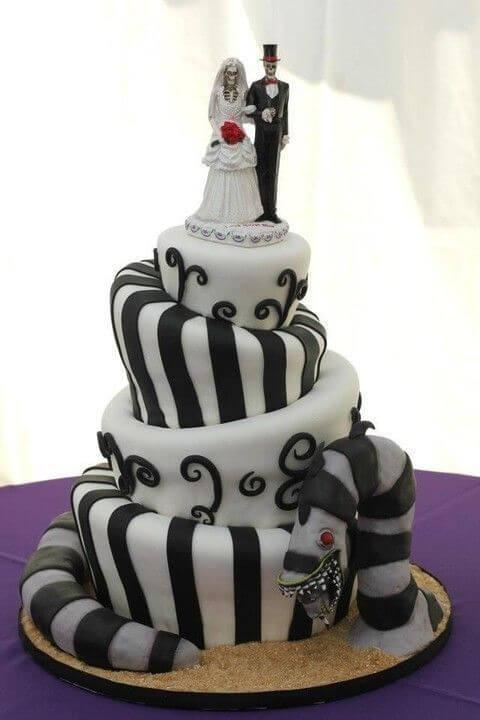 skeleton bride and groom halloween wedding cake