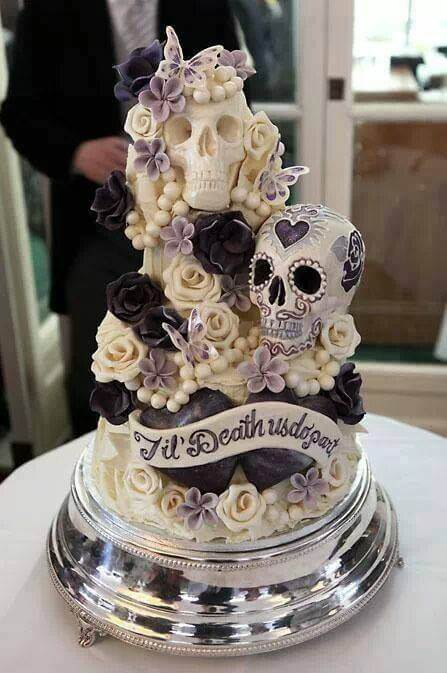 skull inspired halloween wedding cake
