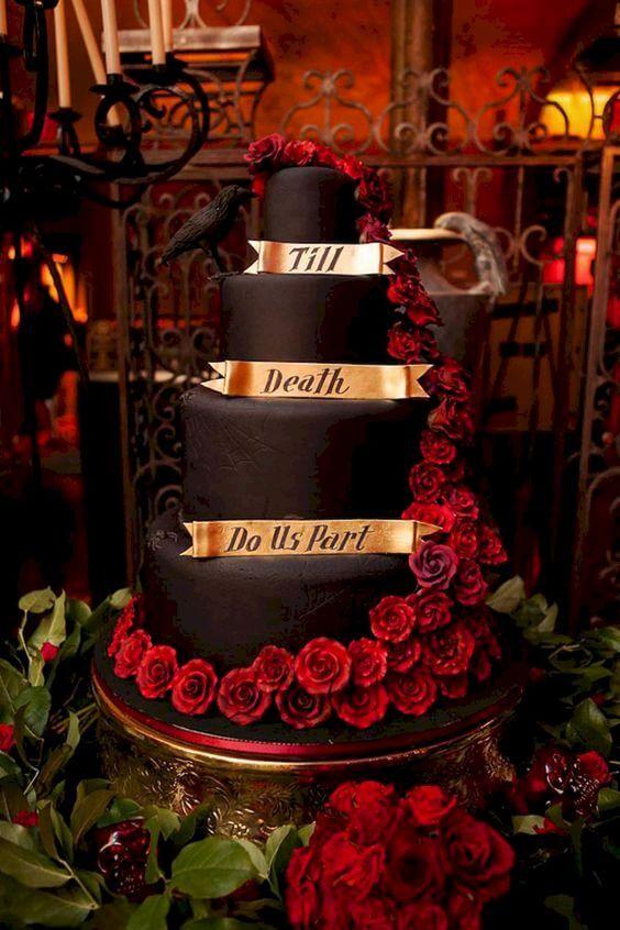 till death do us part halloween wedding cake