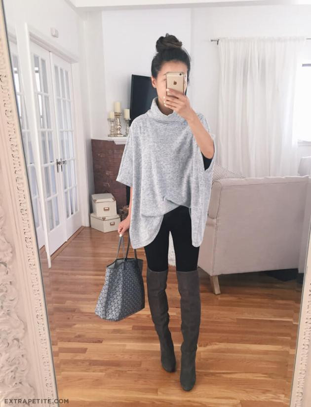 baggy sweater with knee high boots outfit