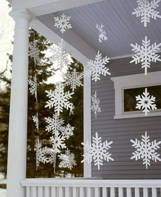 christmas balcony decorated with snowflakes