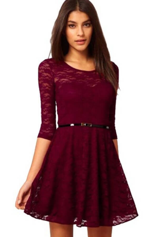 christmas half sleeve lace dress dress for teenage girl