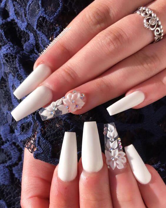 long white coffin nude nails with flowers designs