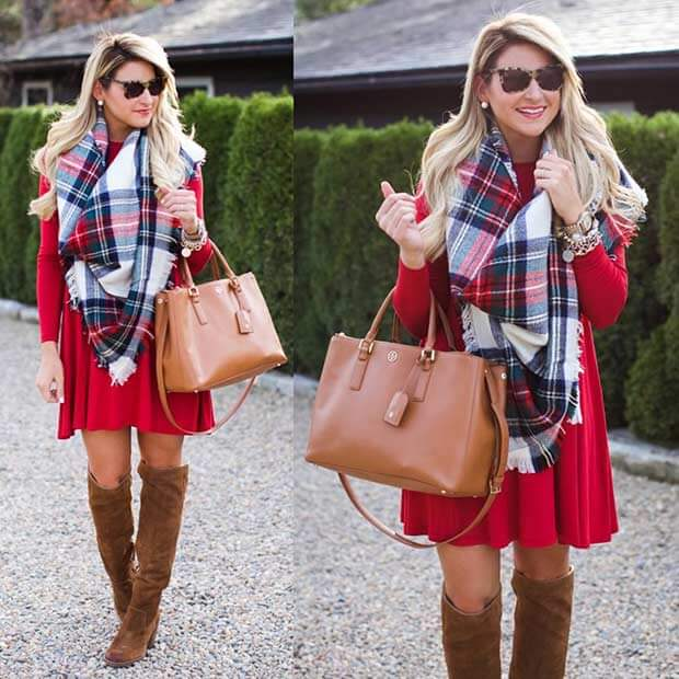 scarf with red skirt dress christmas outfit