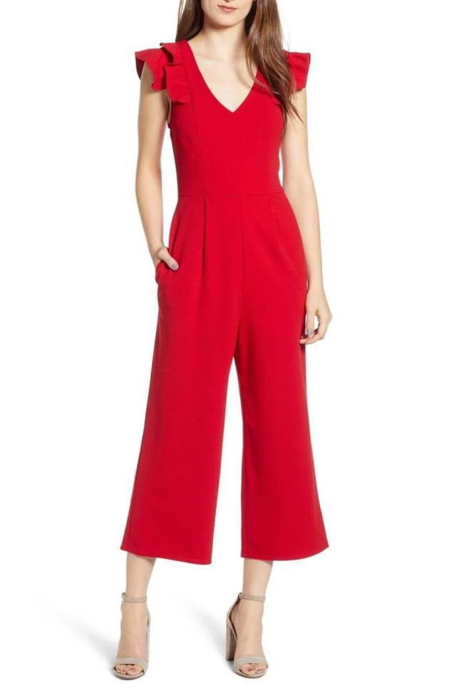 sleeveless red christmas jumpsuit ideas for teenage girl