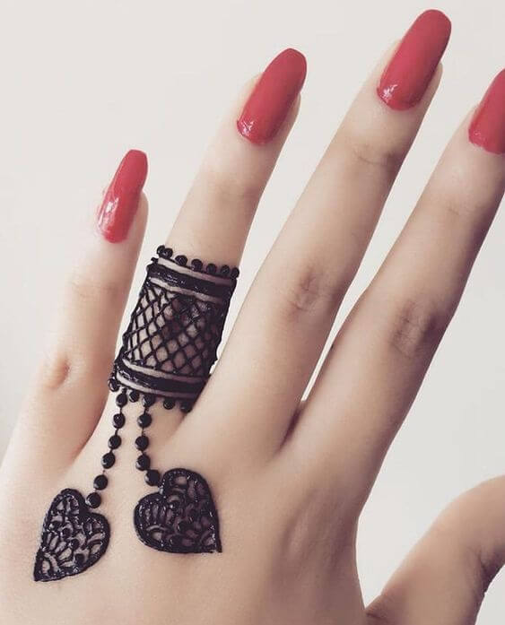 gorgeous jewelry ring mehndi design for one finger