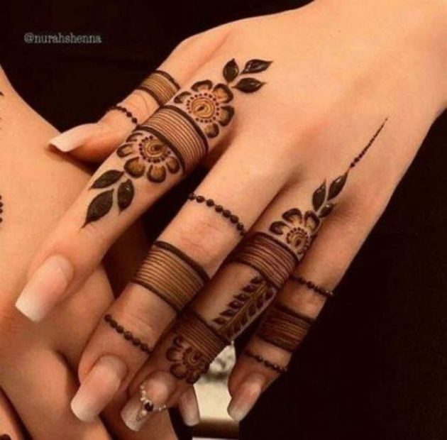 ring style mehndi designs on fingers