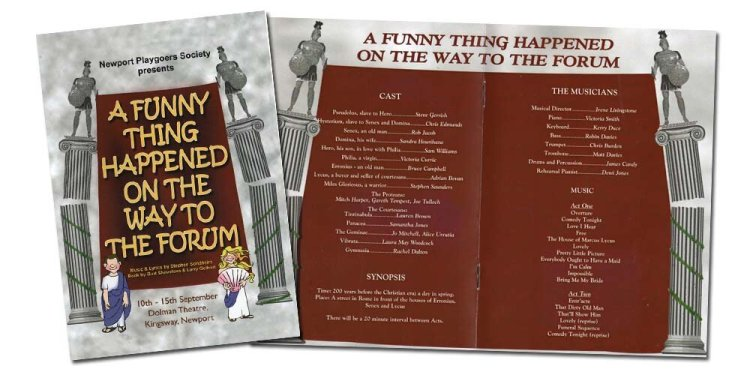 Programme pages from Newport Playgoers presentation of  A Funny Thing Happened On The Way Tp The Forum