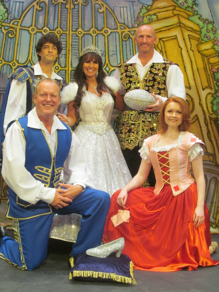 Linda Lusardi with Lee Mead, Gareth Thomas, Andy Jones and Holly Bluett in Cinderella. Photo: Andy Howells