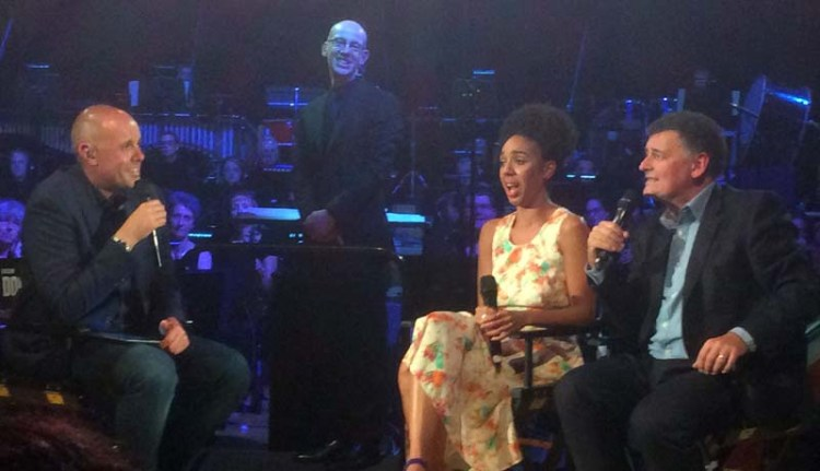 BBC Wales Presenter Jason Mohammed Interviews Pearl Mackie (Bill Potts) and Docor Who Showrunner Steven Moffat at Doctor Who - The Finale Countdown